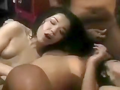 3 Asian girls group fucked by a football team