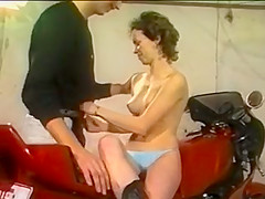 Motorcycle couple fuck in garage retro - 80's