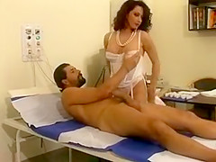 Lovely brunette doctor in sexy white lingerie and stockings