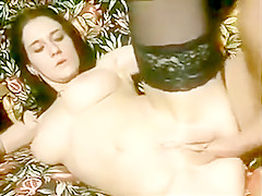 90s Busty Brunette Euro Humper Takes Massive Facial