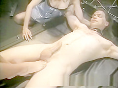 Steaming hot threesome with two lusty harlots in the dungeon