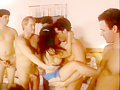 Bitch with big boobs covered in cum gangbang