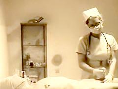 Vintage masked nurse handjob