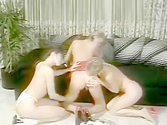 Strap-on lesbian classic threesome