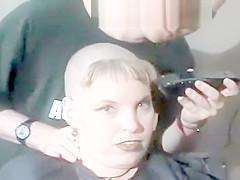 woman shaves bald