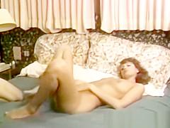 Young masturbating retro babe facialized