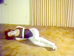 Woman tied in Black Leotard and White Tights