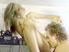 Old school blonde babe fucks guy