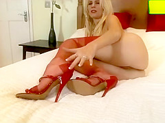 Blondes have more fun in sheer vintage RHT nylons