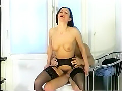 Raven-haired German girl gets goo-faced