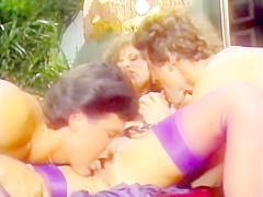 Retro Classic - Tracey Adams in Purple Satin Lingerie