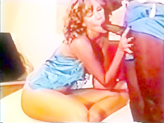 Retro Classic - Blonde in Blue Satin Enjoying BBC