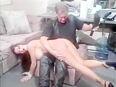 Hank Armstrong spanks pretty brunette from Hostage Slaves(1999)