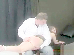 Brunette is spanked 'till her anal is red