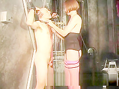 Dominatrix uses a whip on a stud and ties his cock up