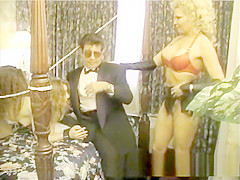 Blonde ties up two horny slags with the help of a stud