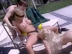 Husband blindfolds wife for kinky sex game involving hidden blond