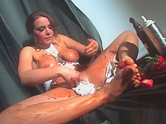 Sticky sweet food play with naturally busty