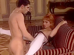 Hot Redhead Noblewoman in Historical Dress Banged on Sofa by Musketeer