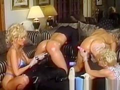 Lesbian Ivy English dildoed roughly by three hotties