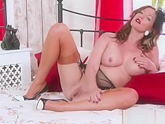 Kinky naughty nylon heel garter masturbation big boobs Milf