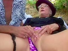 Granny fucked hard outdoor