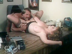 Vintage threesome with delicious redhead