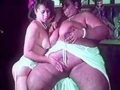 Gigantic overweight huge black lesbian licks fucking white guy and girl