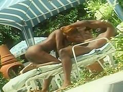 Pretty ebony fucked in the pool