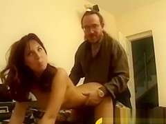 Vintage oldguy wanked by young amateur beauty