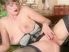 Hot busty natural brunette wanks in vintage nylon lingerie