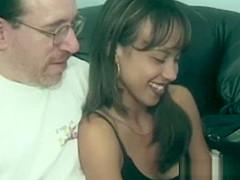 Brunette firsttimer sucks cock in retro porn