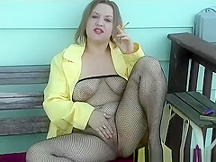 Smoking Fishnet Body Stocking in Yellow - ALHANA WINTER - Vintage RS Fetish