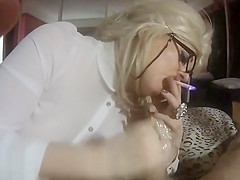 beautiful retro smoking slut gives lipsticky blowjob