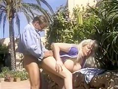 Big Fake Tit Retro Blonde Bimbo Dicked Outside