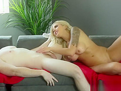 Blonde bitch sucks dick like a pro