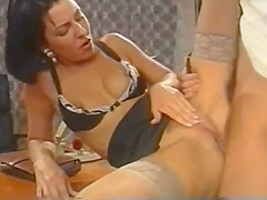 Sex in office. Young skinny secretary in stockings anal