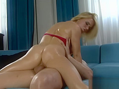 Busty brunette rides big cock swiftly