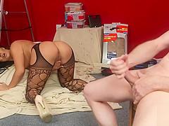 Cock teasing brit babe watches masturbation