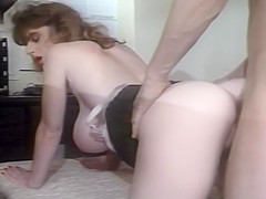 Retro Blonde Milf With Stockings Banged Doggystyle