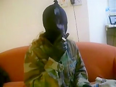 smoking pantyhosed mask robber