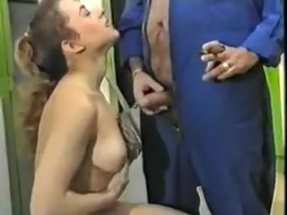 Lingerie gal pussylicks milf and fucks oldman
